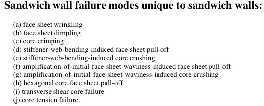 Types of failure included in the PANDA2 model that generate design margins during optimization cycles